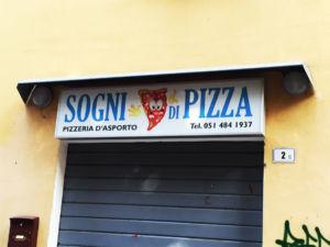 Insegna a cassonetto Sogni di Pizza